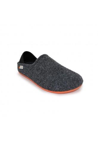 Mule confort laine gris
