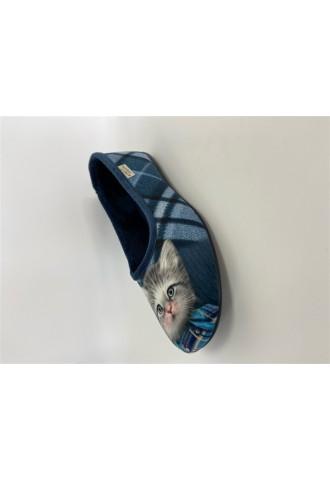 Chausson ballerine chat bleu